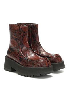蛇纹皮革及踝靴
