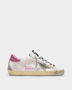 Super-Star Sneakers in White and Pink Leather