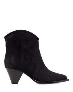 灰褐色Dernee绒面革中筒靴