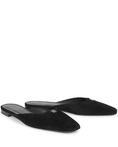 The Flat 10 black suede mules