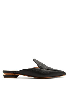 Beya grained-leather backless loafers