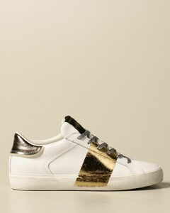 sneakers in leather with laminated band