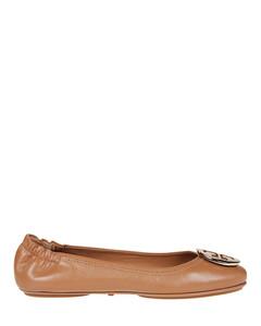 Minnie tan leather folding flats