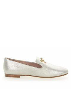 Loafers DALIA calfskin suede Finished Gem Logo beige silver