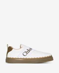 white Lauren strap leather sneakers