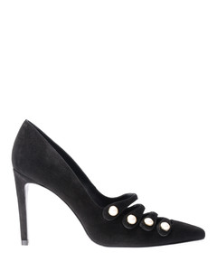 Strappypearl suede pointy pumps