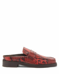 Arches backless python-effect leather loafers