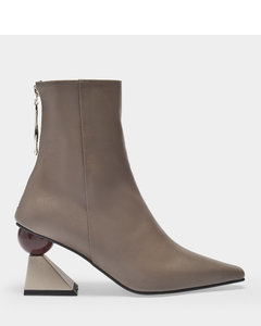 Ankle Boots Amoeba Glam In Mud And Beige Leather