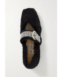 Krista Crystal-embellished Faux Fur Ballet Flats