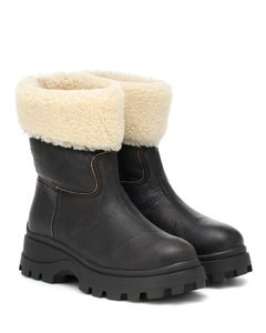Shearling and leather ankle boots