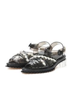 Beaded scallop trim clear heel sandals