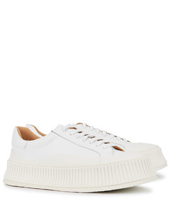 White leather flatform sneakers