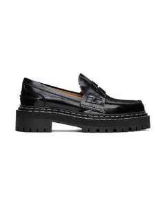 黑色漆皮乐福鞋