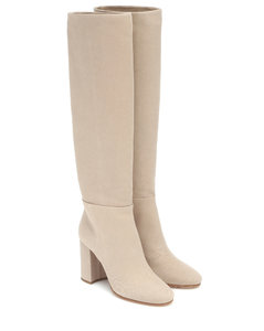 Twill knee-high boots