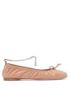 Crystal-anklet leather ballet flats