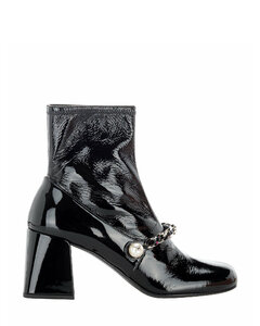 Chain-Detailed Slip-On Ankle Boots