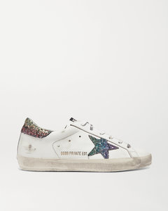 Superstar亮片金葱仿旧皮革运动鞋