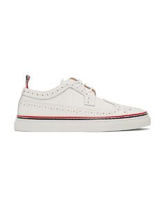 白色长翼布洛克鞋