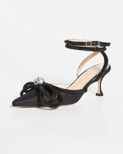 黑色亮片双蝴蝶结高跟鞋