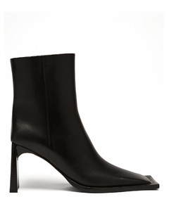 Moon square-toe leather ankle boots
