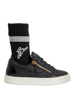Ladies Black Lotop Zip Sock Sneakers
