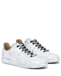 Replica涂绘皮革运动鞋