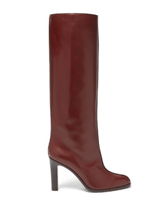 Piped knee-high leather boots