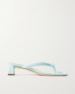 Bibi Bow-embellished Croc-effect Leather Sandals