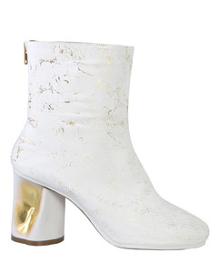 Tabi crocodile-effect leather ankle boots
