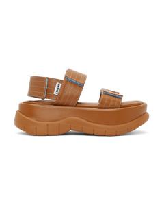 黄褐色Low Platform凉鞋