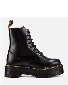 Jadon Polished Smooth Leather 8-Eye Boots - Black