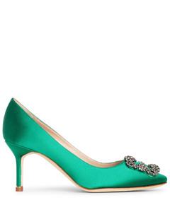 Hangisi 70 emerald satin pumps