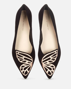 Women's Butterfly Pointed Flats - Black/Rose Gold
