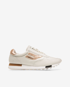 Women's plain lamb leather trainer in white and pink