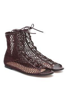 Fishnet皮革邊飾涼鞋