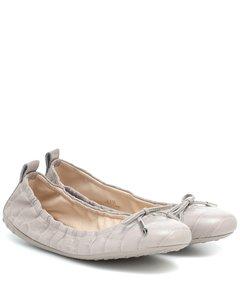鳄鱼纹皮革芭蕾舞平底鞋