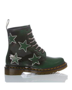 DR. MARTENS WOMEN'S MIM1781 GREEN LEATHER ANKLE BOOTS