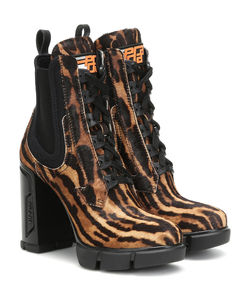 Printed calf-hair ankle boots