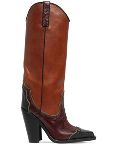 120mm Western Leather Tall Boots