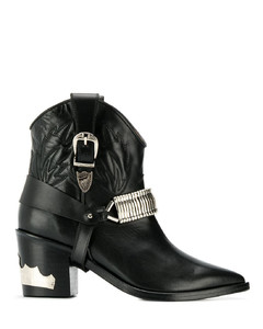 金属感西部牛仔风短靴