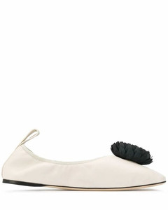 WOMEN'S 453106011957 WHITE LEATHER FLATS
