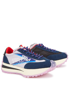 Spike panelled mesh and nylon sneakers