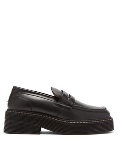 Chunky square-toe leather loafers