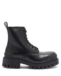 Strike leather lace-up boots