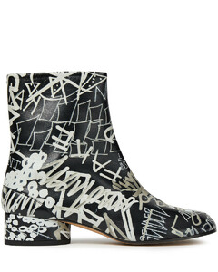 Woman Tabi Split-toe Printed Leather Ankle Boots