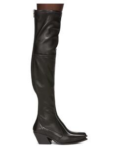 黑色过膝牛仔靴