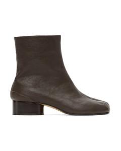 棕色Tabi低跟踝靴