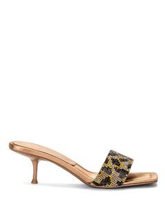 Jessie Leopard Crystal Sandal in Animal Print,Neutral