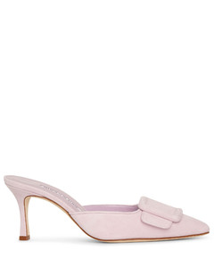 Maysale 70 light pink suede mules