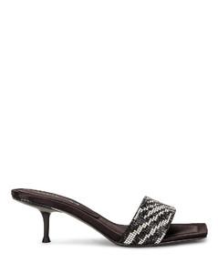 Jessie Zebra Crystal Sandal in Animal Print,Black